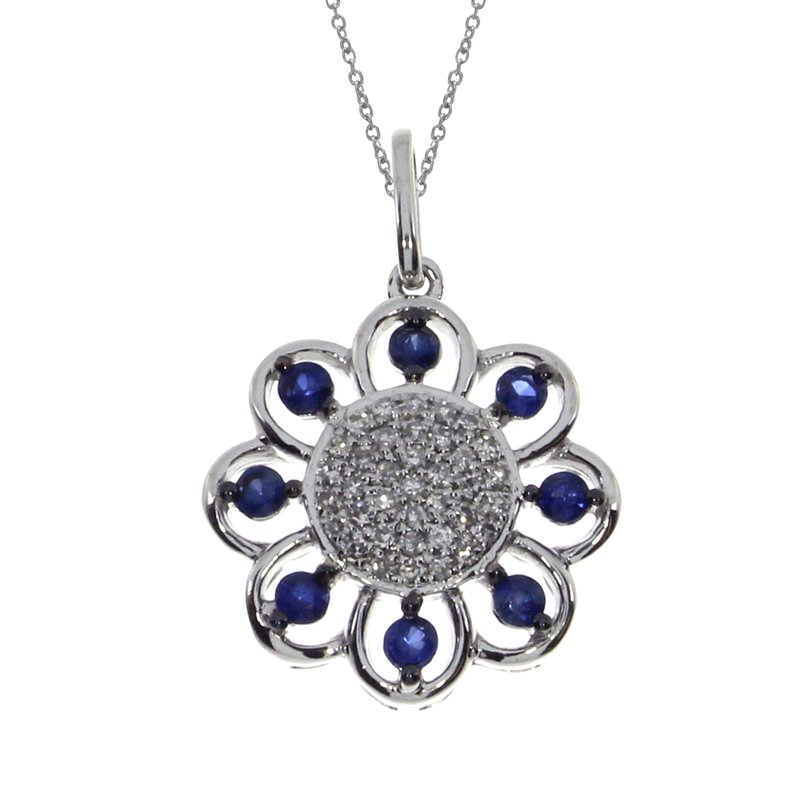 Color Merchants 14k White Gold Sapphire Sunflower Pendant