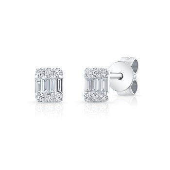 White Gold Petite Baguette Cluster Studs