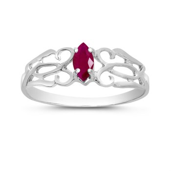10k White Gold Marquise Ruby Filagree Ring