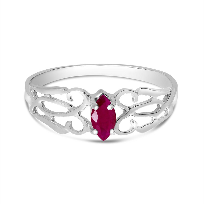 Color Merchants 10k White Gold Marquise Ruby Filagree Ring