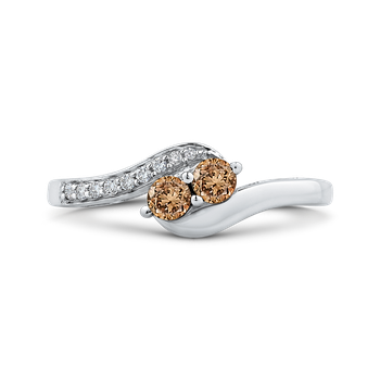10K White Gold 1/4 Ct Brown and White Diamond Fashion Ring