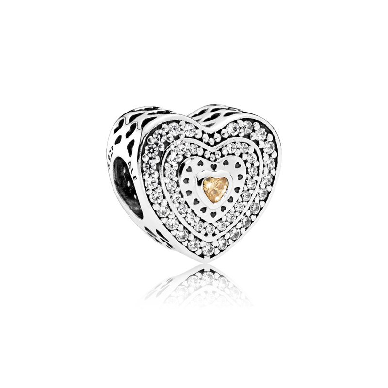 PANDORA Lavish Heart Charm, Fancy-Colored & Clear CZ