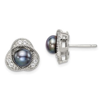 Sterling Silver Black Freshwater Cultured Pearl & White Topaz Post Earrings