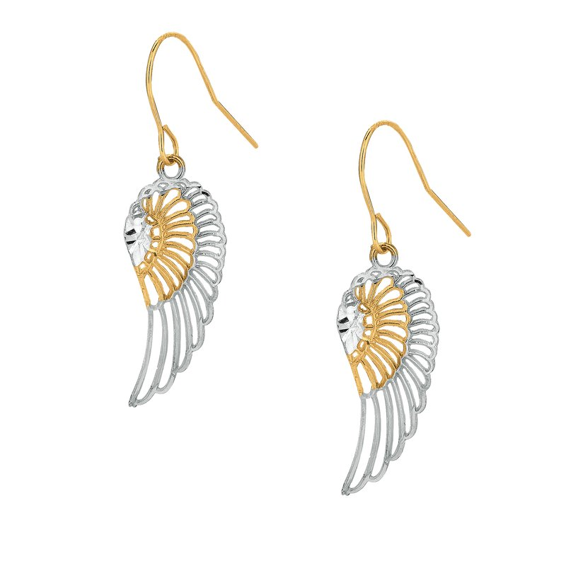 Royal Chain 10K Gold Angel Wing Drop Earring
