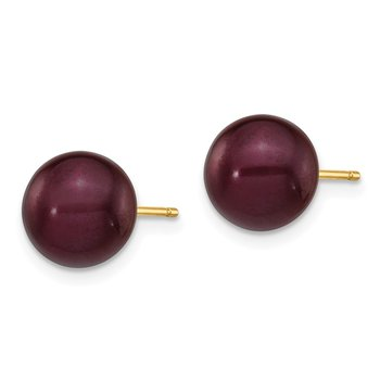 14k 8-9mm Coffee Round Freshwater Cultured Pearl Stud Post Earrings