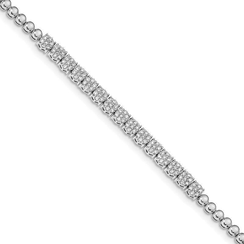 Lester Martin Online Collection 14k White Gold Graduated Bead Diamond Bracelet
