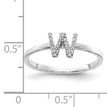 14k White Gold Diamond Initial W Ring