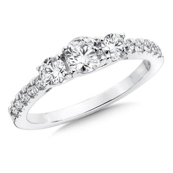 Round Diamond 3-Stone 14k White Gold Engagment Ring With Pave set Shank (1 ct. tw.).