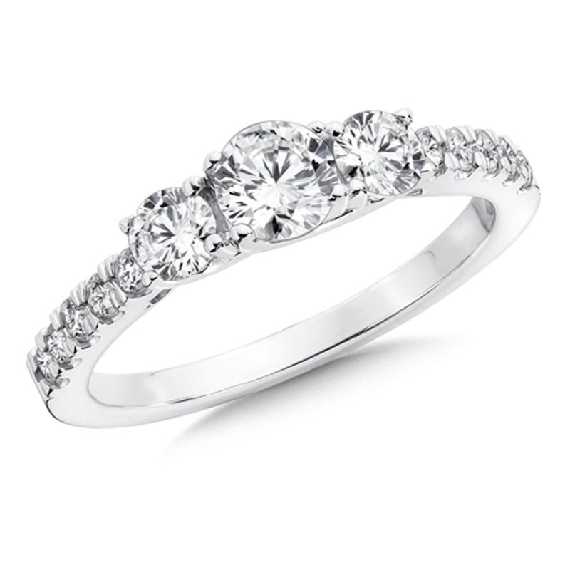 SDC Creations Round Diamond 3-Stone 14k White Gold Engagment Ring With Pave set Shank (1 ct. tw.).