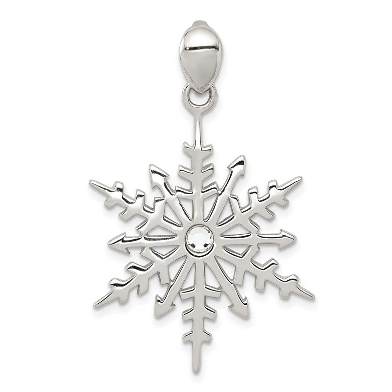 Quality Gold Sterling Silver Snowflake with Stellux Crystal Pendant