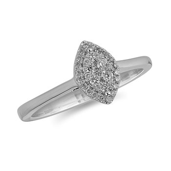 14K WG and diamond Marquise Halo composite head and plain shank ring in pressure setting
