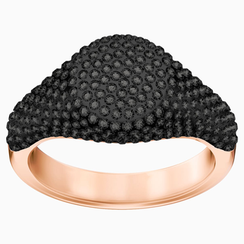 Stone Signet Ring, Black, Rose-gold tone plated