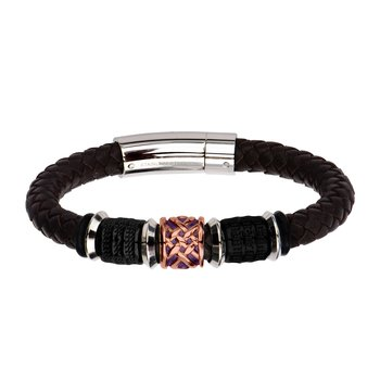 Black Plated, Brown and Steel Bead in Brown Braided Leather Bracelet