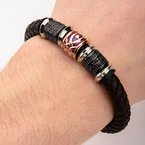 INOX Black Plated, Brown and Steel Bead in Brown Braided Leather Bracelet