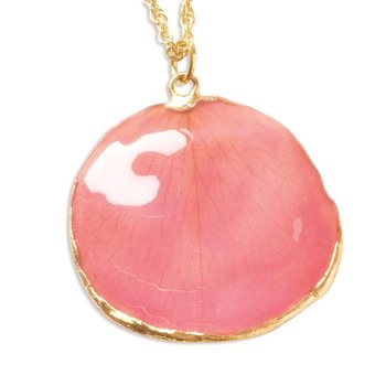 24K Gold-trim Lacquer Dipped Pink Rose Petal 20 inch Gold-tone Necklace
