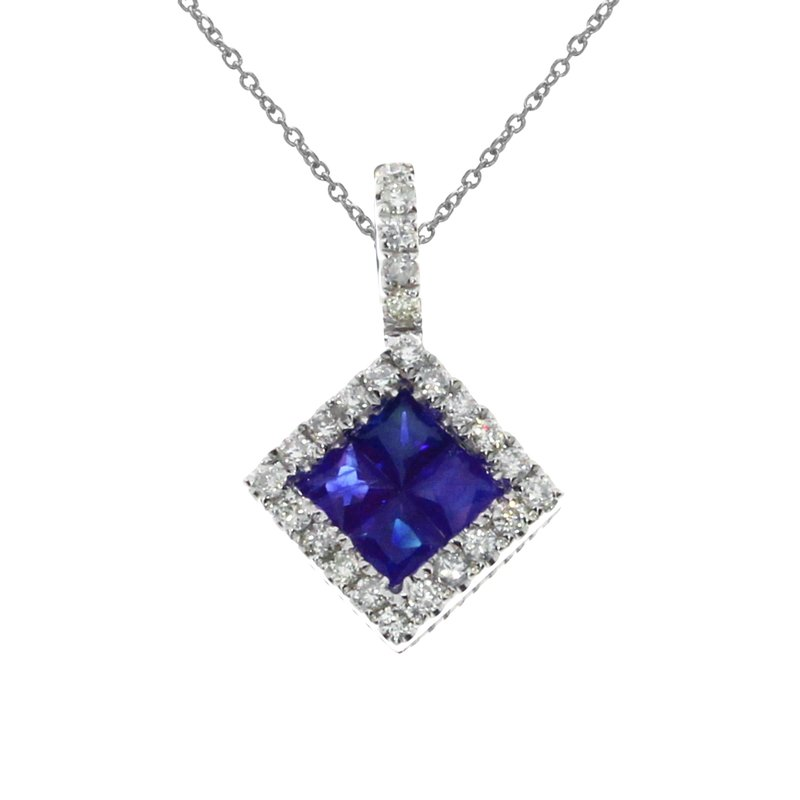 Color Merchants 14K White Gold Sapphire Princess Pendant