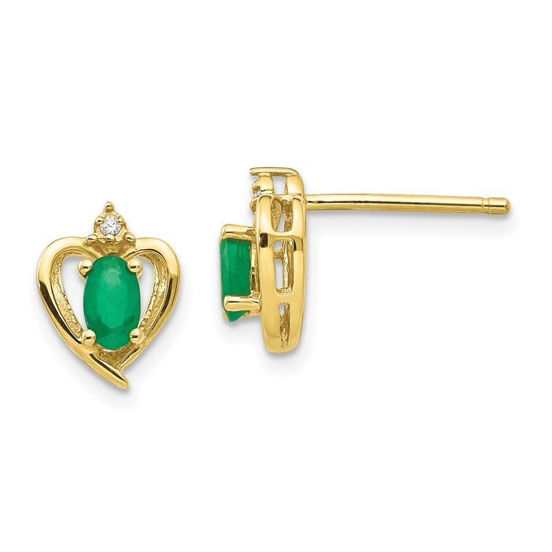 Quality Gold 10K Diamond and Emerald Earrings