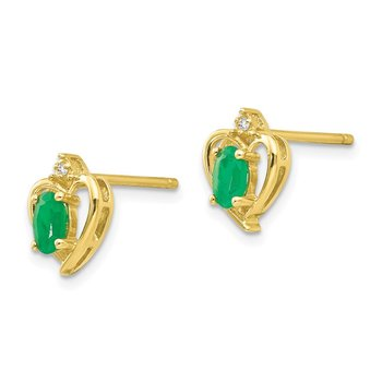 10K Diamond and Emerald Earrings