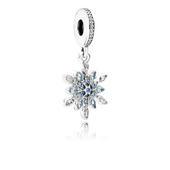 Crystalized Snowflake, Blue Crystals Clear Cz