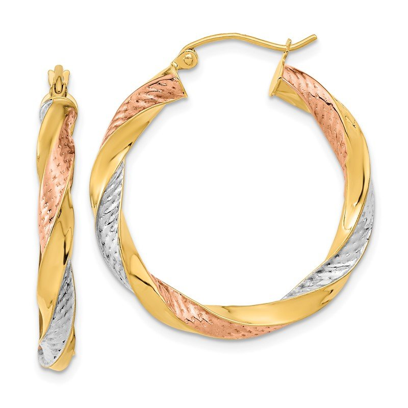 Quality Gold 14k Tri-color Polished & D/C Twist Hoop Earrings