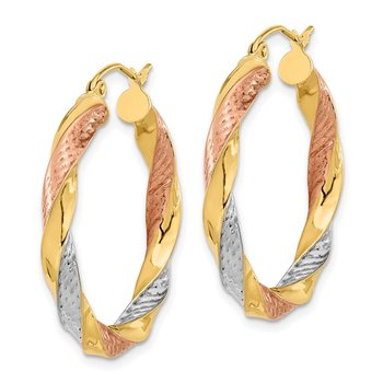 14k Tri-color Polished & D/C Twist Hoop Earrings