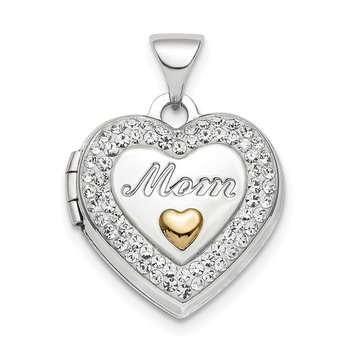 Sterling Silver Rhodium-plate Gold-tone Preciosa Crystal Mom Locket