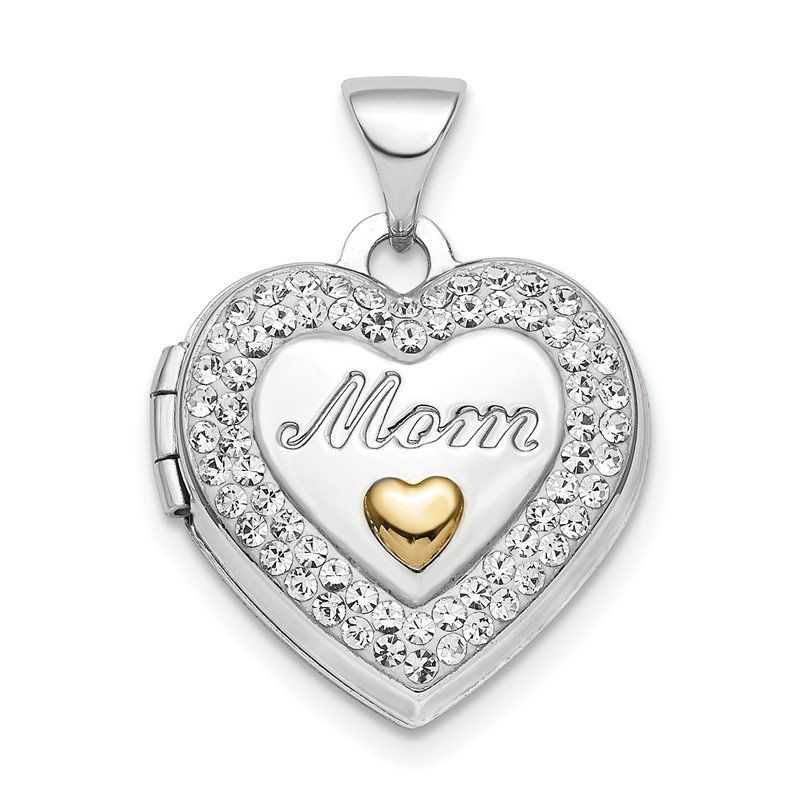 Quality Gold Sterling Silver Rhodium-plate Gold-tone Preciosa Crystal Mom Locket