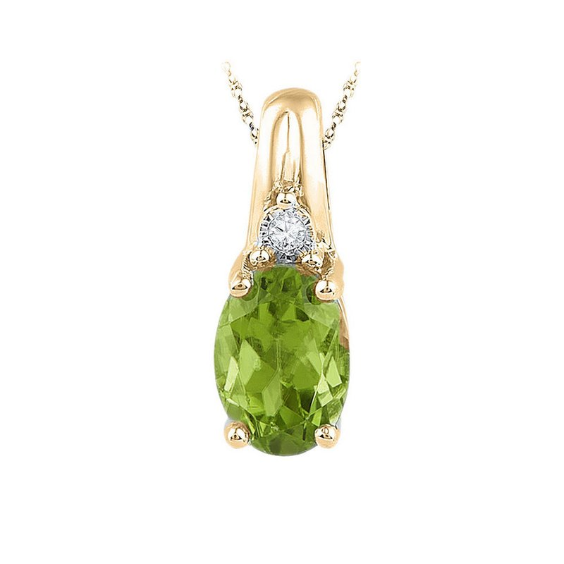 Gold-N-Diamonds, Inc. (Atlanta) 10kt Yellow Gold Womens Oval Lab-Created Green Peridot Solitaire Diamond Pendant 1.00 Cttw