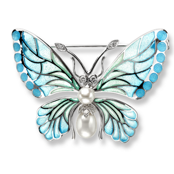 Sterling Silver Butterfly Brooch-Blue, Diamond,Pearl