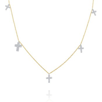 14k Gold and Diamond Multi Cross Necklace