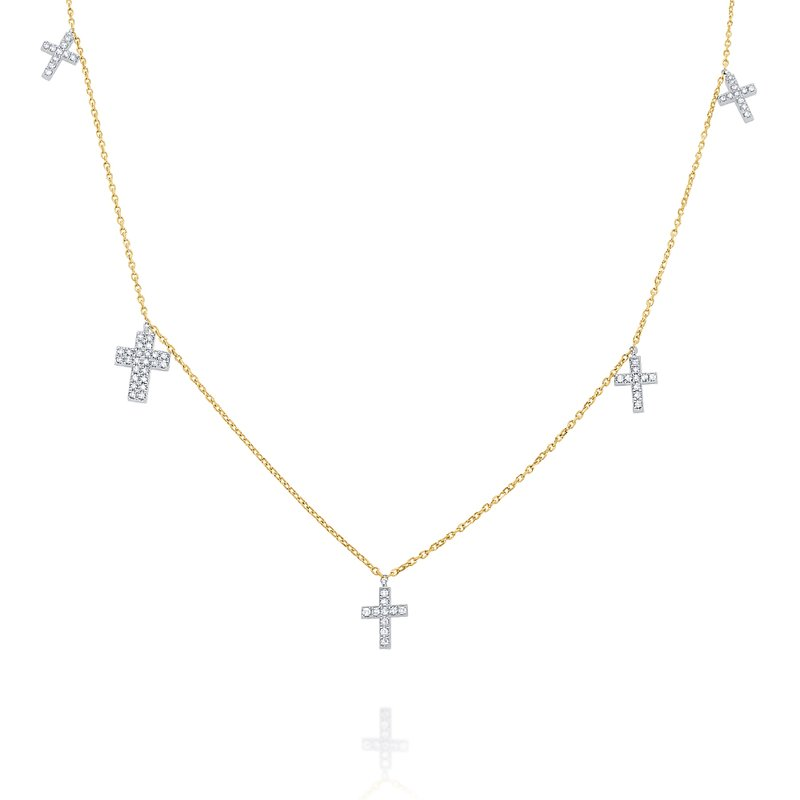 KC Designs 14k Gold and Diamond Multi Cross Necklace