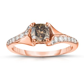 .83ctw Cushion Cut Engagement Ring with .63ct Natural Mocha Center