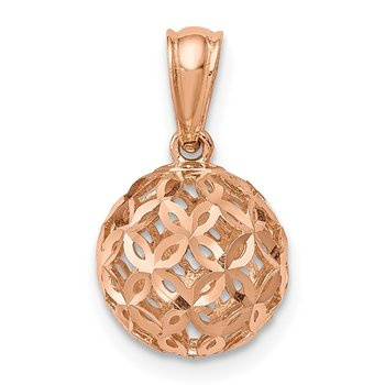 14K Rose Gold D/C Ball Dangle Pendant