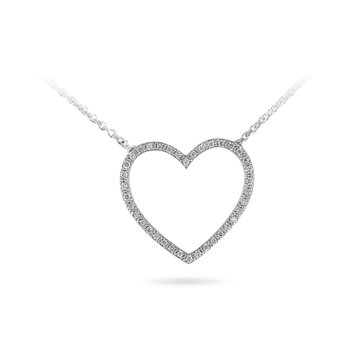 "14K WG Diamond Heart Pendant with 17"" Cable Chain"