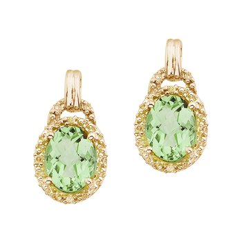 14K Yellow Gold 8x6 Oval Green Amethyst and Diamond Earrings