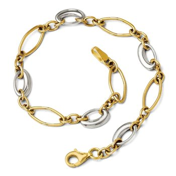 Leslie's 14K Two-tone Polished Fancy Link Bracelet