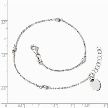 Leslie's Sterling Silver Adjustable w/1in ext. Anklet
