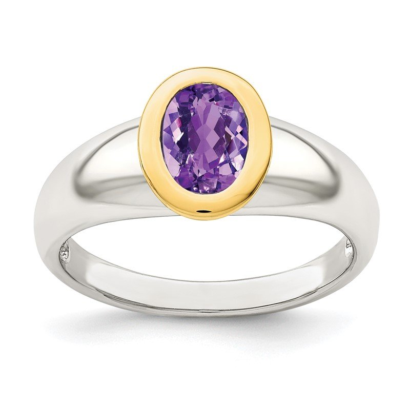 Quality Gold Sterling Silver w/ 14K Accent Amethyst Oval Ring