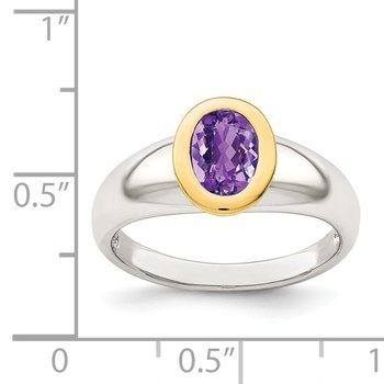 Sterling Silver w/ 14K Accent Amethyst Oval Ring
