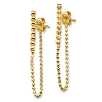 14K Beaded Chain Front/Back Dangle Earrings
