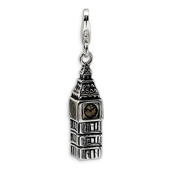 Sterling Silver 3-D Antiqued Big Ben w/Lobster Clasp Charm