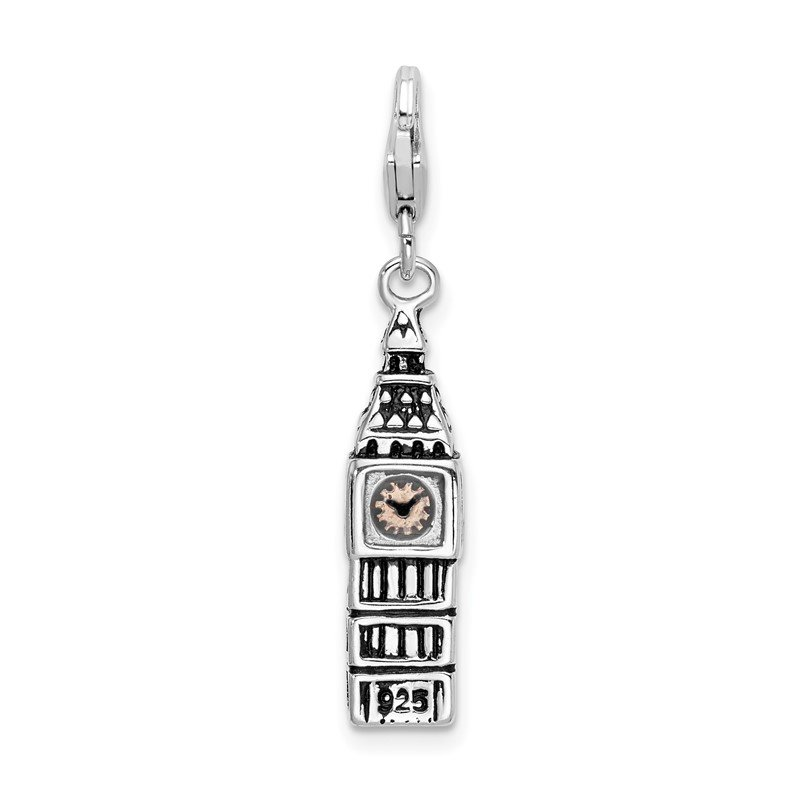 Quality Gold Sterling Silver 3-D Antiqued Big Ben w/Lobster Clasp Charm