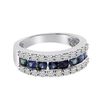 14k White Gold Wide Sapphire Ring