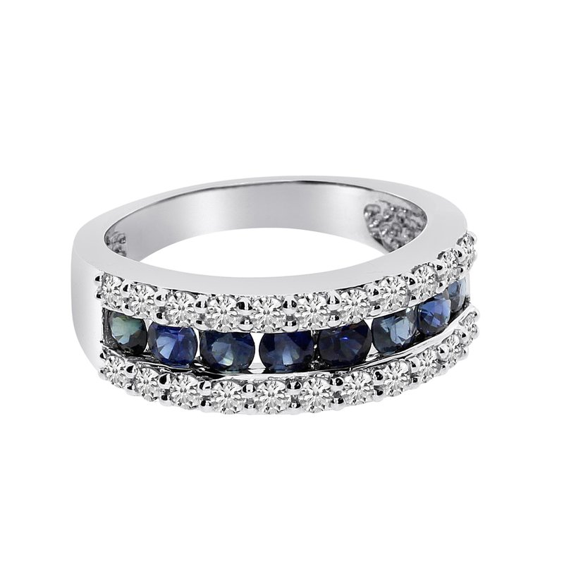 Color Merchants 14k White Gold Wide Sapphire Ring