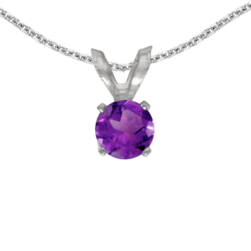 Color Merchants 14k White Gold Round Amethyst Pendant