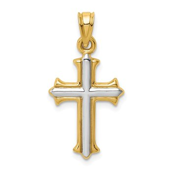 14k w/Rhodium Hollow Cross Pendant