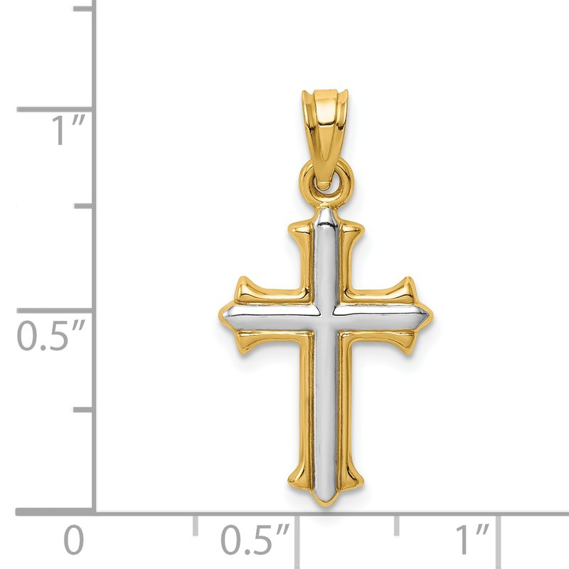Quality Gold 14k w/Rhodium Reversible Hollow Cross Pendant