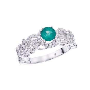 14k White Gold Emerald/ Diamond  Ring