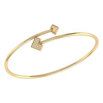One Way Bangle in 14 KT Yellow Gold Vermeil on Sterling Silver
