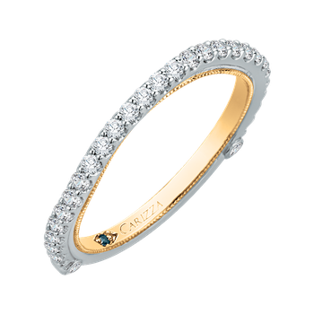 14K Two-Tone Gold Round Diamond Wedding Band